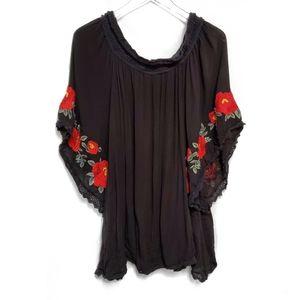 Forever 21 Black Floral Off the shoulder dress